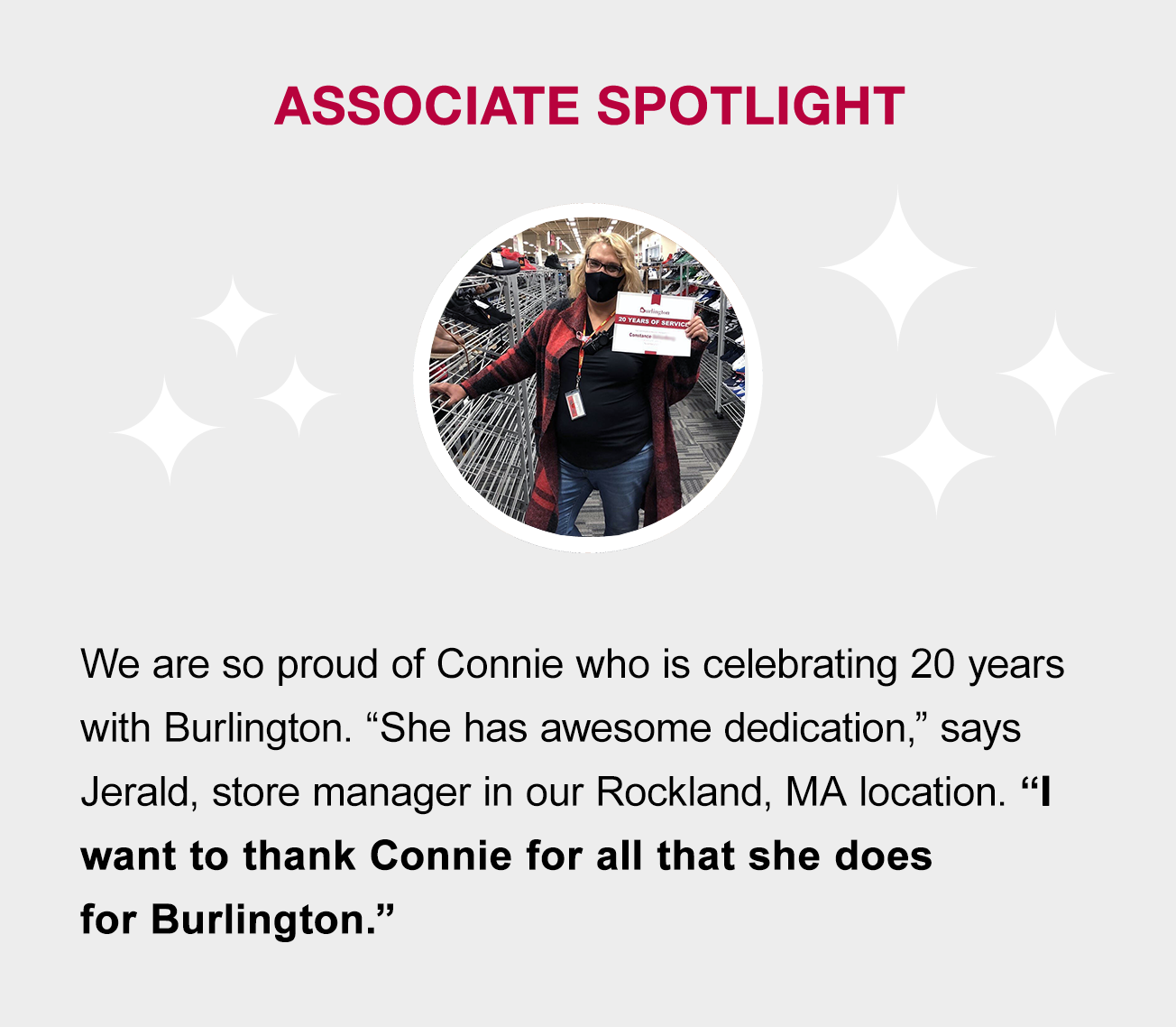 Associate Spotlight. Connie, we really appreciate all that you are doing!